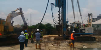 Piling and drilling company in Lagos Nigeria, Piling Shoreline , driven piles, precast concrete driving, Bored piles and water bore hole drilling services.